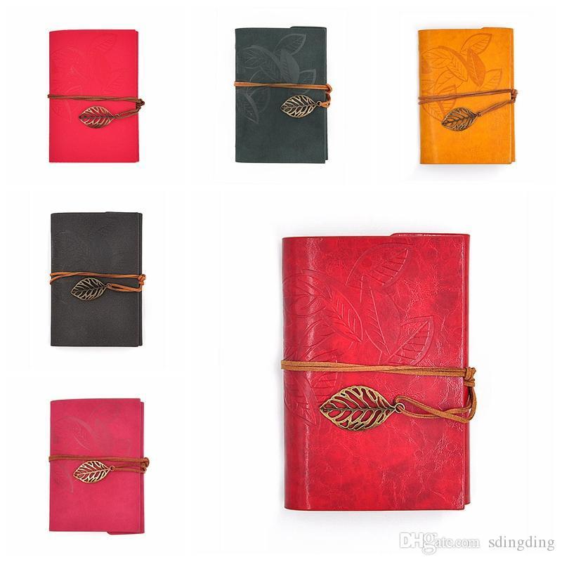 PU Couverture souple Livre Bobines Bloc-notes Blank Notebook Retro Copybook Feuille Carnet de Voyage Livres Kraft Journal Spiral Carnets Papeterie DBC DH1483