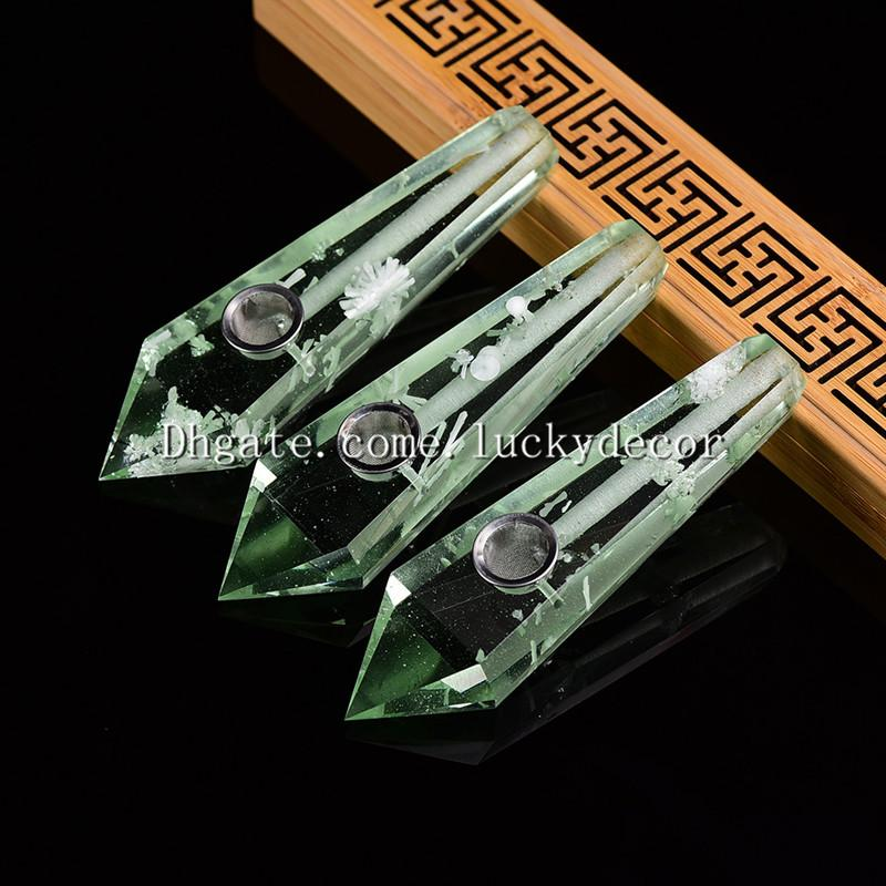 10Pcs Wholesale Pretty New Snowflake Smelting Quartz Crystal Tobacco Pipe Green Smelt Quartz Tower Point Obelisk Wand Smoking Tool Healing