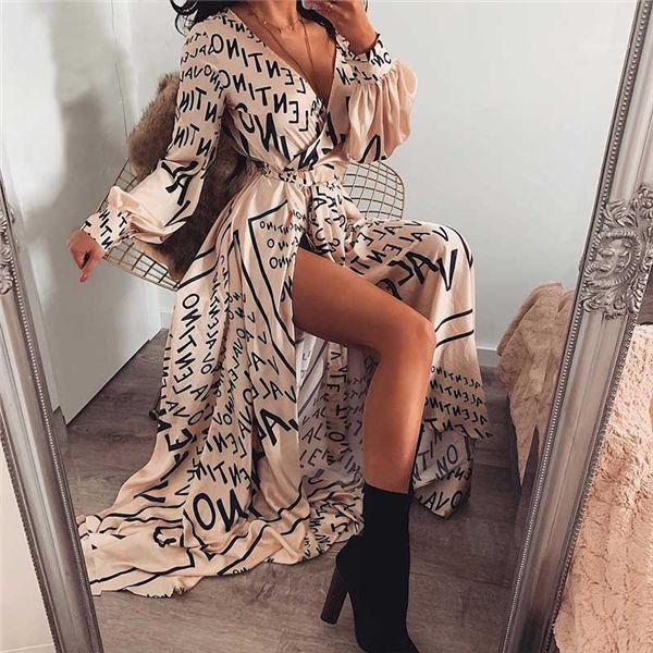 Sommer-Strand-Kleid-Verpackungs-Brief-Druck-lange Kleid Sexy V-Ausschnitt Satin-Kleid-Frauen 2019 Vintage-Langarm Herbst