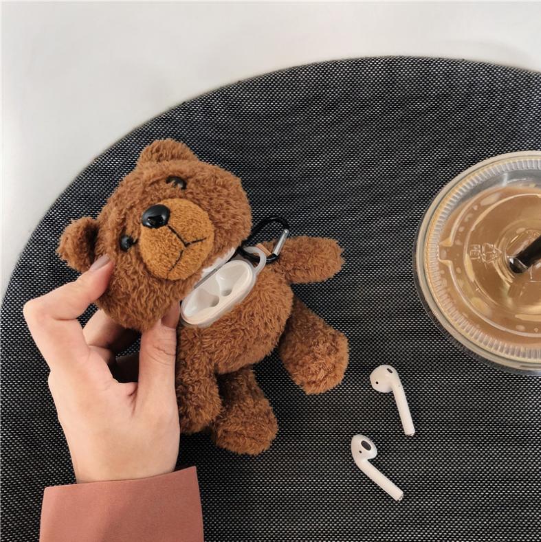 Plush dos desenhos animados do urso de peluche protetor para Airpods 1/2 3 Pro Plush Urso Protector sem fio Bluetooth Headset Caixa de armazenamento
