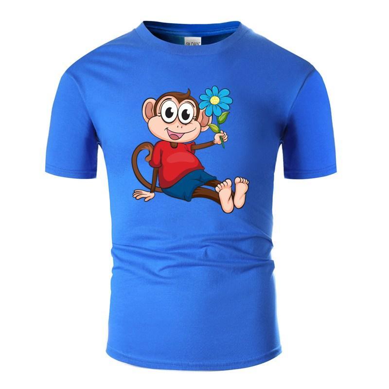 Anpassen Design Affe mit Blumen-T-Shirt für Herren Cotton Grau Street Comics Männer T-Shirts 2020 Kurzarm
