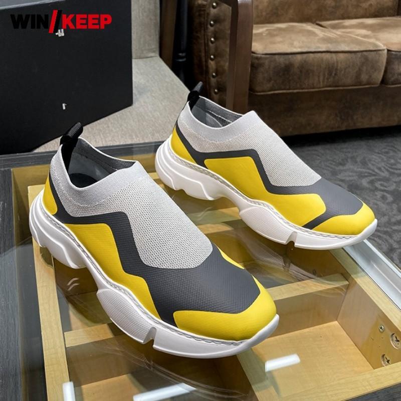 Дышащие Мужская обувь Спорт на открытом воздухе кроссовки Человек Платформа Цвета Mixed поскользнуться на Бег носки Новый фитнес кроссовки