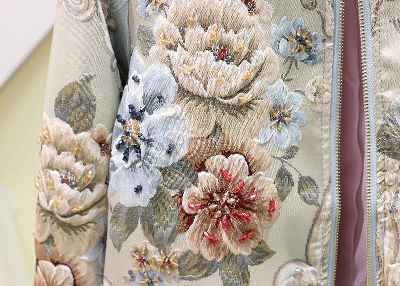 2019 Sonbahar Kış Sıcak Satış Moda Pist Dış Giyim Kadın Zarif Çiçek Nakış Hollow Out Coat Kısa Ceket