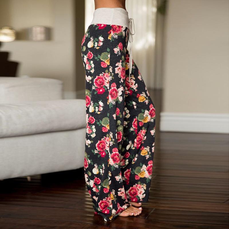En kaliteli Kadın Pantolon Yaz Uzun Kadın Pantolon Günlük Çiçek kemer uzunluğu Orta Bel Geniş Bacak Plaj Pantolon ile Gevşek Pantolon yazdır