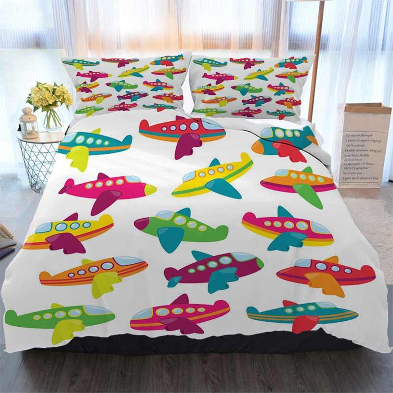 Cama Designer 3D Define Coleção do vetor de bonito aviões ou Avião Brinquedos poliéster edredon cobre os conjuntos de cama de luxo