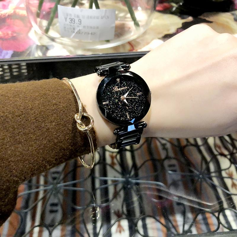 Новых поступления Нового стиля Звездных часы тенденция моды женщины Часы Элегантного All-матч Часы стали Пояс мода 6184free Доставки