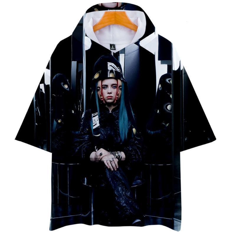 Sıcak Satış Billie Eilish Tişörtlü Kadın Erkek Moda Gevşek Kapşonlu Tişörtlü Günlük Moda Streetwear Tişört Pamuk Sonbahar Yaz Tee