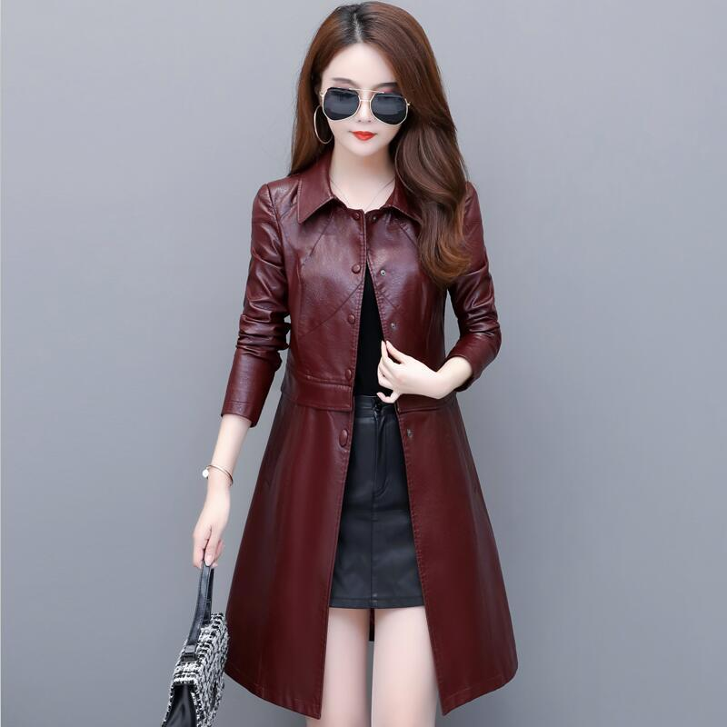 Plus Size Leather Coat Women Jackets New 2020 Spring Leather Jacket Women Coats Long Slim Motorcycle Clothing Female PU