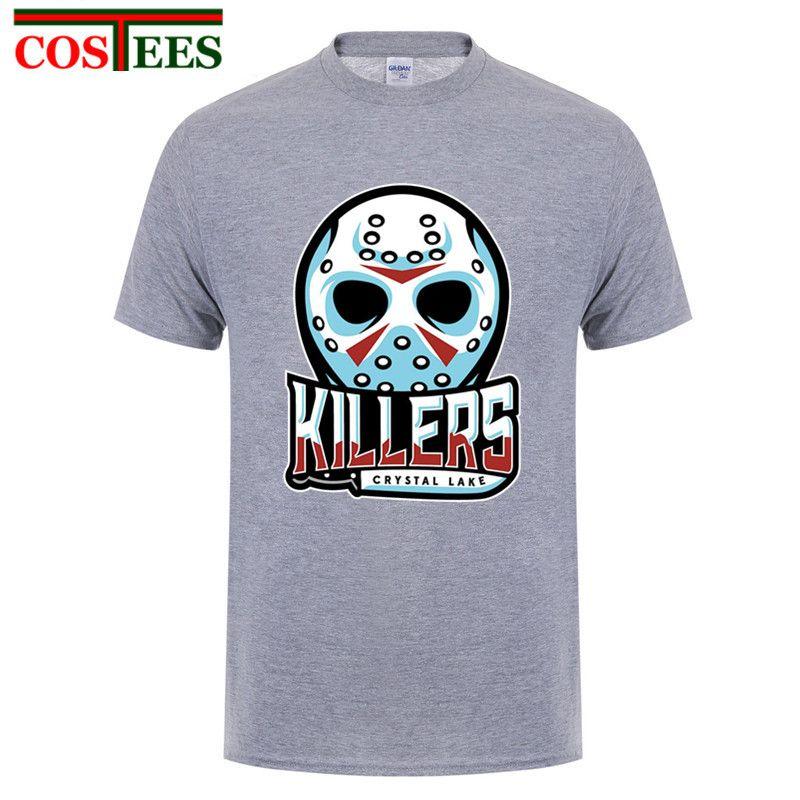 2018 Ужасов Серийного убийцу Джейсон Voorhees футболка для мужчин Geek на заказ с коротким рукавом Плюс Размер партии Crystal Lake Memories футболок