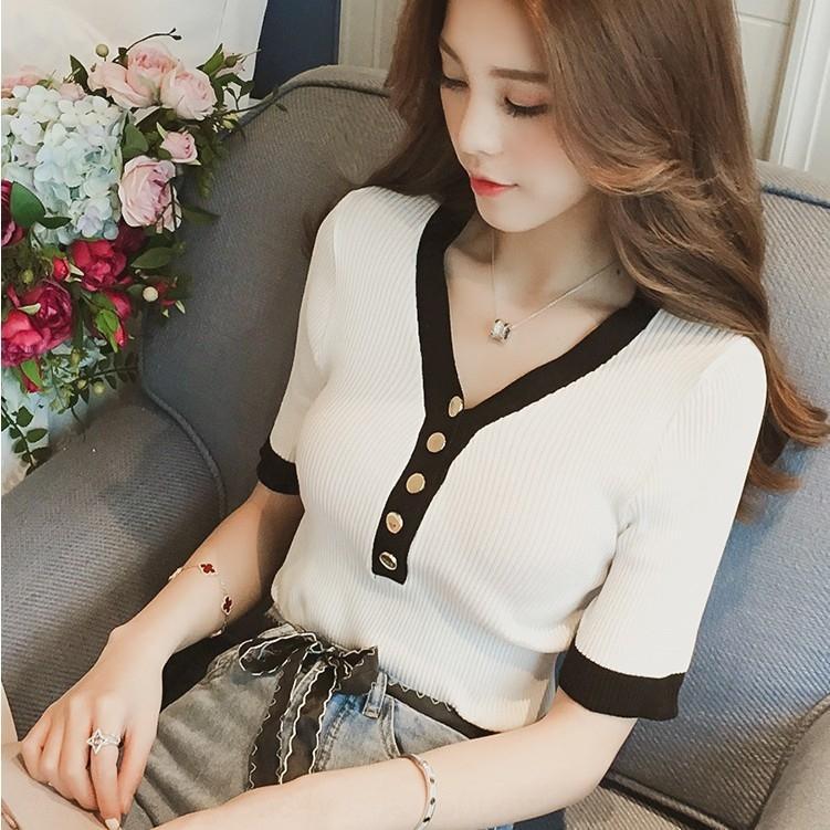 5bM5u 2020 été nouveau style coréen contraste V-cou mince chemise couleur de base pull-over femmes les pull-over tout-match au sommet de la chemise en maille mince