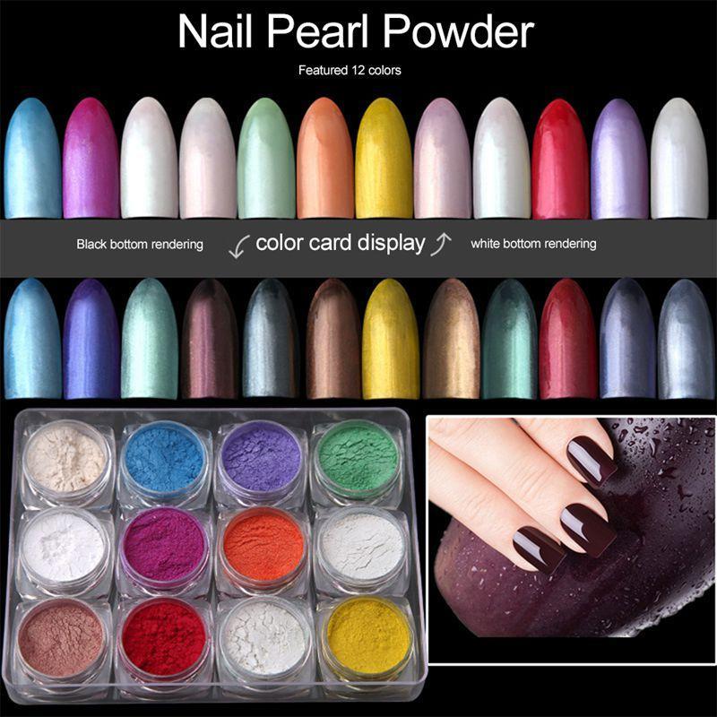 12boxes / комплект 12 цветов Голографическая порошок ногтей Nail Маникюр для ногтей Art Chrome Пигмент DIY украшения Инструменты