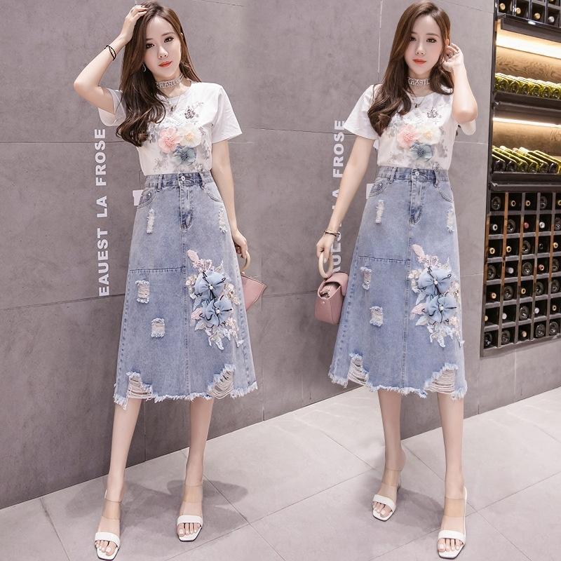 Супер горячие модули бисерные трехмерный цветок украшения Denim Джинсовая юбка красота Корейский стиль случайные элегантные юбки женской моды Ia8n7 Ia