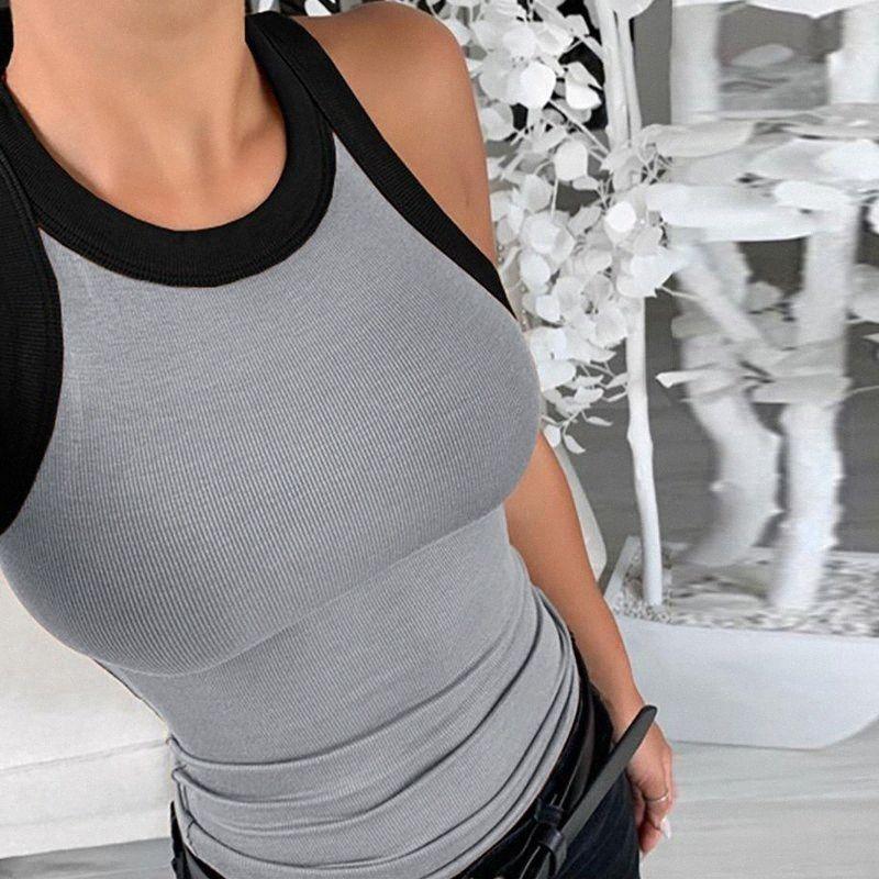 Estate a righe senza maniche con stampa a maglia Camicetta Camicie scava fuori o collo delle donne top e camicette elegante slim fit aderente Blusas Y20062 7iSp #