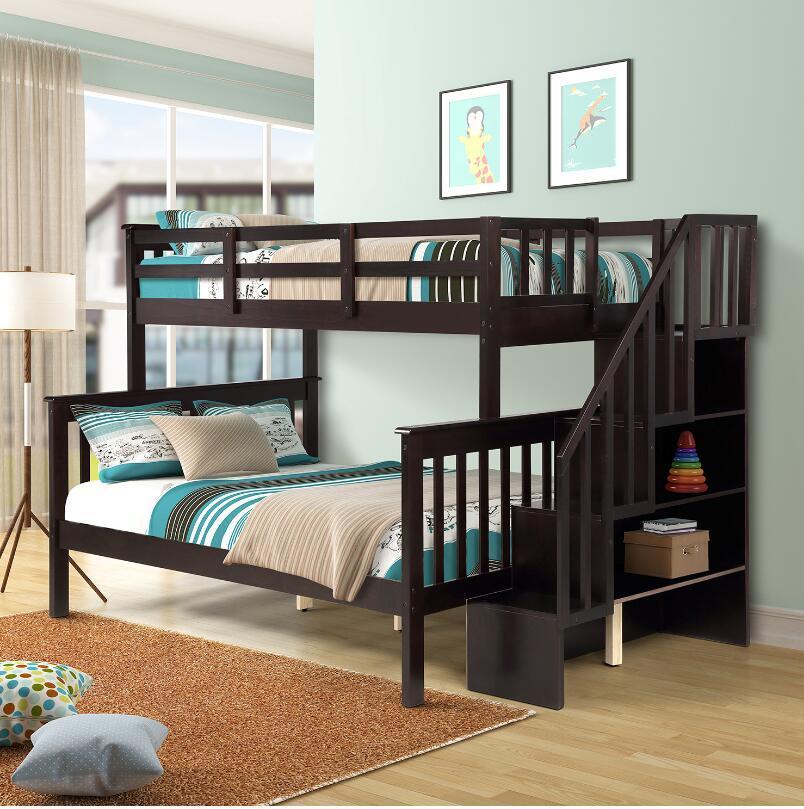Schnelles Shpping-Treppenhaus Twin-Over-volles Etagenbett mit Lager- und Guard-Schiene für Schlafzimmern für Kinder Erwachsene Espresso-Farbe LP000019AAP