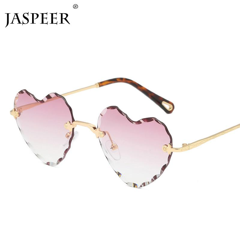 JASPEER Amour Des lunettes de soleil en forme de coeur pour les femmes, cadre sans monture, verres clairs, lunettes de soleil, lunettes de soleil colorées rouges, roses et jaunes