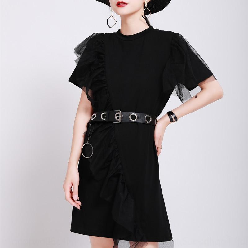 TbiLk Zhongchuang rizhen nicchia 2020 vestito dalla maglietta obliqua abito T-shirt design filato di lunghezza media Estate nuove donne