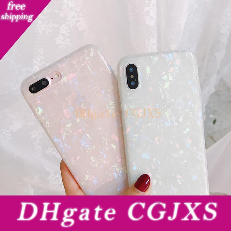 Glitter Cas de téléphone de rêve Shell motif étuis pour iPhone Xr Xs Max 8 7 6 6s Plus souple Tpu de couverture de silicone