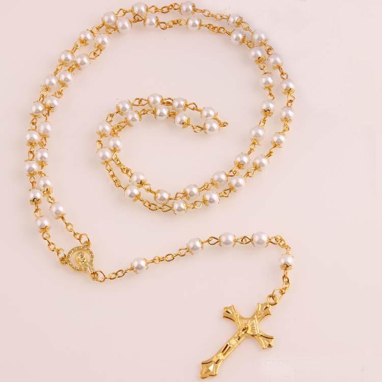 Белый Жемчужное ожерелье Золото Четки из бисера цепи Религиозные крест ожерелье Иисуса для женщин 6мм Promotion Цена New Hot