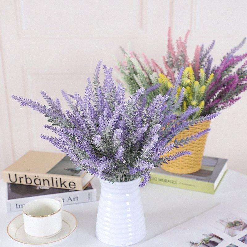 Lavendel-Blumen-künstliche dekorative Hochzeit Blumen Blumenstrauß aus Kunststoff gefälschtem künstlichen Blume für Hauptdekor preiswerten Qualitäts-CIOy #