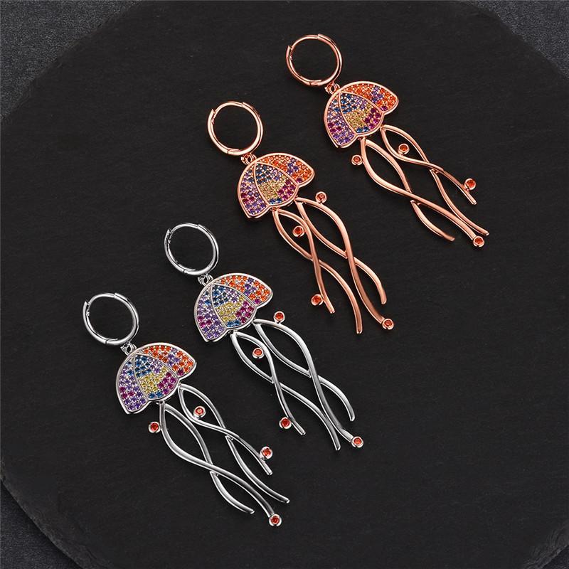 Boho Femme Big Méduse Boucles d'oreilles 2020 Nouveau été Mode Bijoux animal mignon couleur or rose Boucles d'oreilles pour les femmes