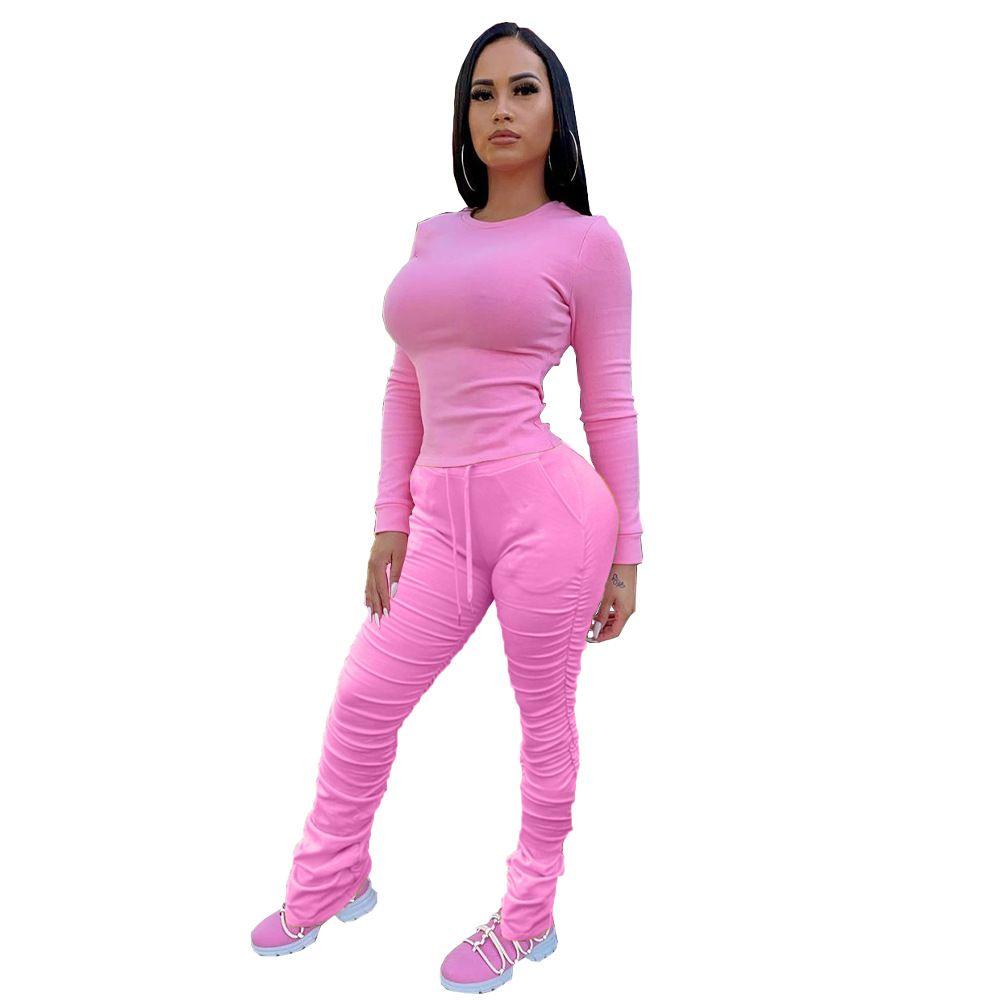 Donna pro Stacked Set di abbigliamento a maniche lunghe girocollo maglietta Lace Up Alta Wasit Stacked Pantaloni Pezzo Famale Due Pantaloni