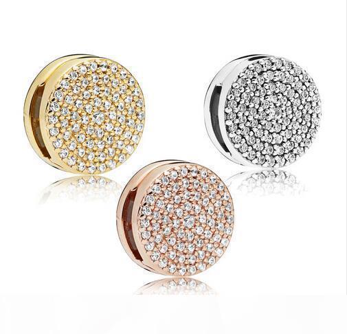 2.018 novas reflexões Dazzling Elegance Clipe encanto 100% 925 Sterling Silver Beads Fit Pandora Pulseira presente DIY Jóias