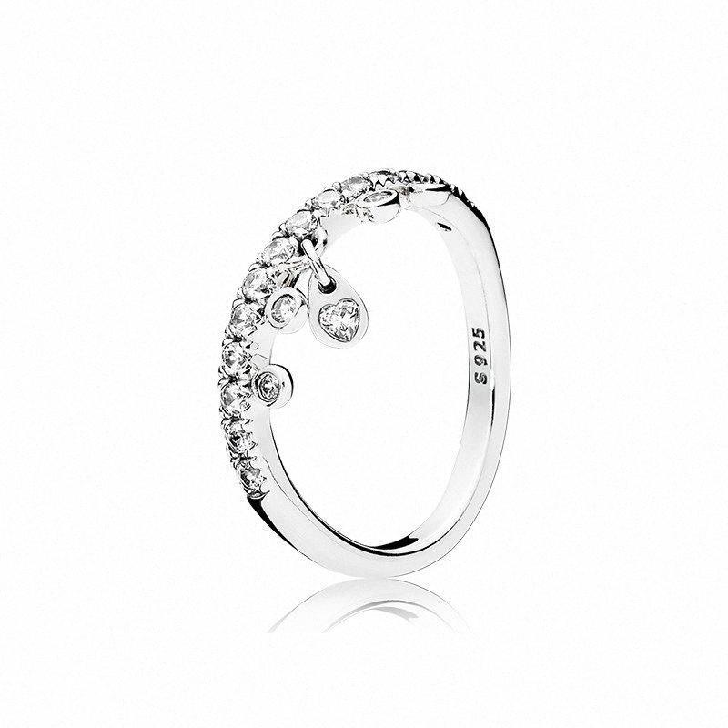 Claro CZ Diamond 925 de aro de fijación del logotipo original de la caja de Pandora de la lámpara del anillo de las gotitas de joyería de la boda Mujeres Niñas zNec #