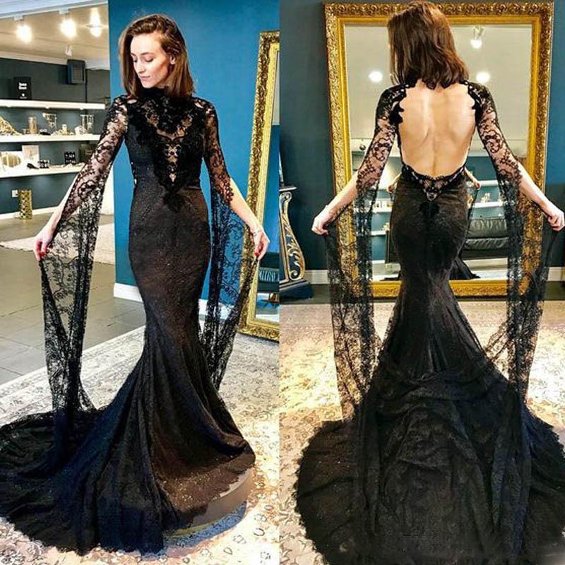 2021 della sirena del merletto nero Prom Dresses Vintage lungo sexy maniche a collo alto con Backless Hollywood Masquerade vestito convenzionale abito di sera