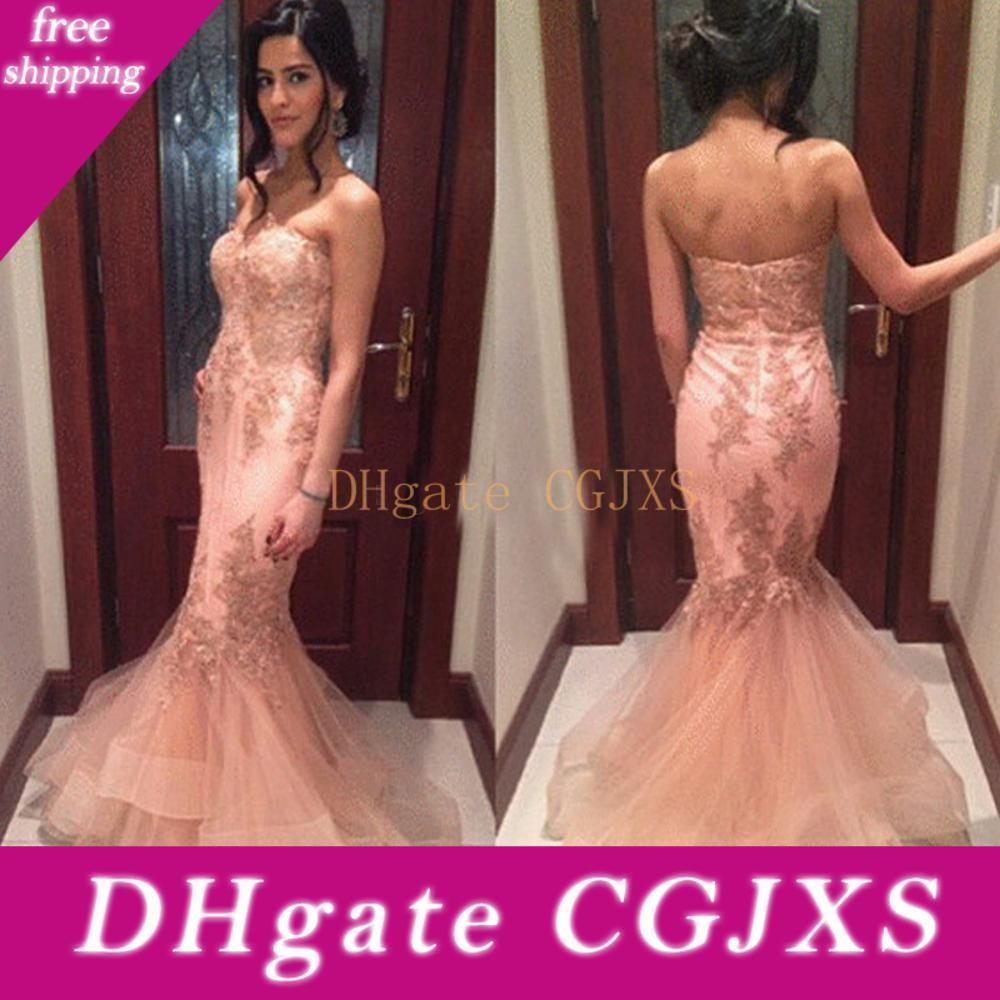 Rosa Beading Vintage Organza Mermaid Prom Dresses Comprimento Pavimento Querida Ruffles camadas drapeado sexy vestido de noite vestido de festa Plus Size