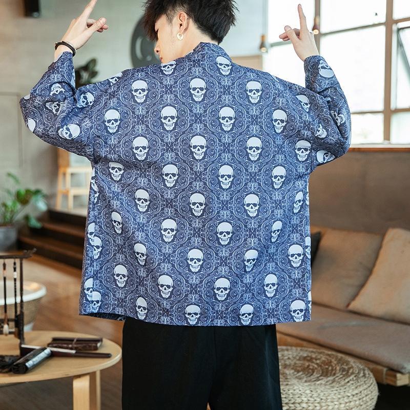 Wqfip Yaz Vinç ince erkekler tarzı Coat gömlek gevşek boyut rahat ceket erkek Çinli büyük güneş gömlek baskılı