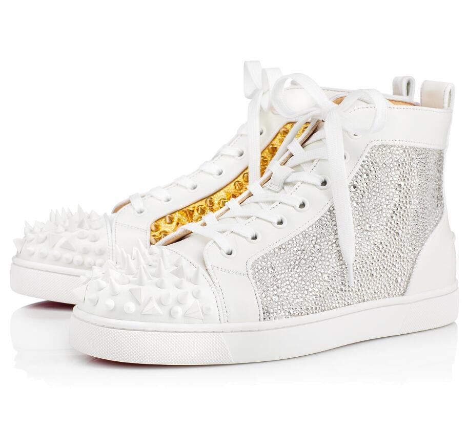 Beyaz altın, Siyah-altın Spike Strass Sneakers sayılı Limiti 018 Yüksek Üst Erkekler Kırmızı Alt Sneaker Ayakkabı Erkekler, Kadınlar Kaykay Günlük Ayakkabılar EU35-47
