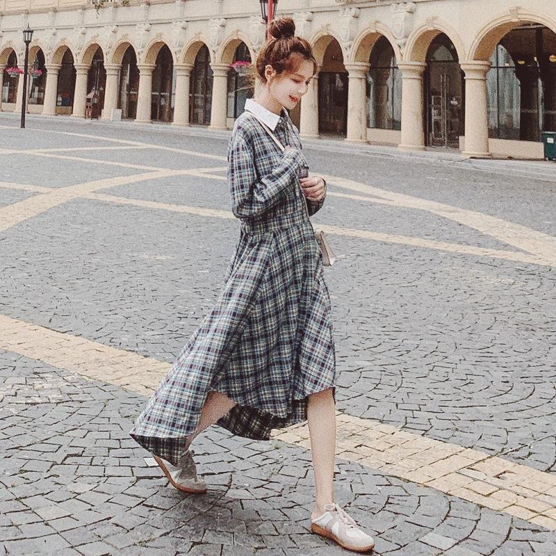Sonbahar kadınlar için S0uE9 ins Ekose renk eşleştirme yaka bel zayıflama düzensiz büyük salıncak uzun gömlek elbise kollu gömlek elbise