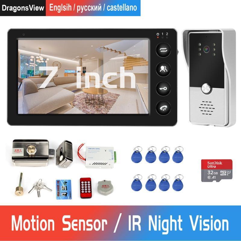 Telefone video da porta Porta Wired Intercom E Fechamento RFID eletrônico com Motion Detection Record para Home Video campainha Sistema