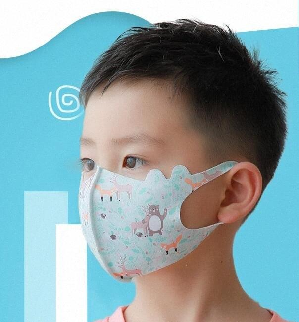 Crianças Ice Silk Máscara Meninos 3D Meninas Máscaras boca dos desenhos animados Dustproof protecção reutilizáveis algodão máscara máscaras respirável Earloop cara GGA3517-5 lJ07 #
