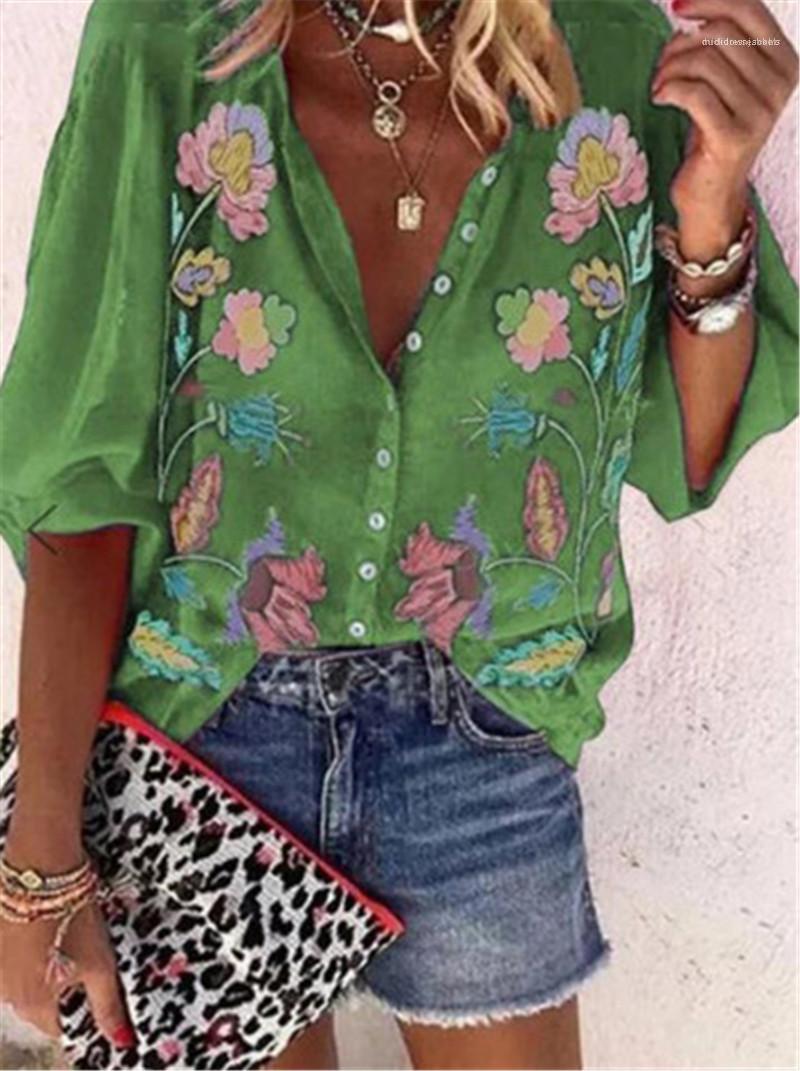 2020 Gilet d'été de chemises de luxe décontracté Blouses manches courtes col V Imprimer Mode Femme Vêtements Femmes