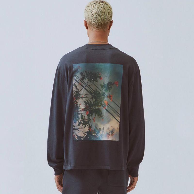 19FW FOG Fear of God ESSENTIALS Blumenfoto Printed Langarm Pullover Crewneck T-Shirt Pullover Straße Hoodies T HFYMWY266