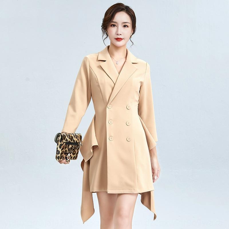 g8d7y 2020 Outono terno gola trespassado vestido viajante saia do vestido formal das mulheres novo babados manga longa saia cor sólida fina