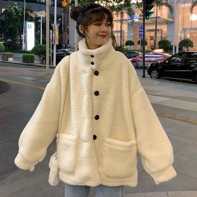 Mulheres de engrossado all-jogo 2020 outono e inverno quente casaco de estilo coreano solta emagrecimento quente de pelúcia ficar gola do casaco para as mulheres ZdKao