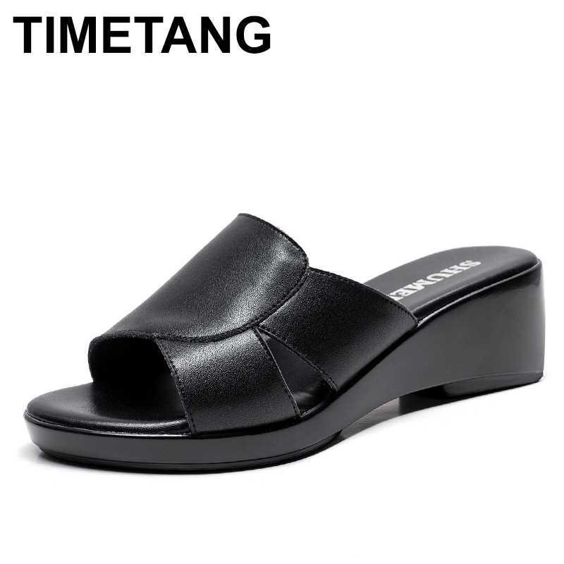 TIMETANG2020 moda autêntica sandálias plataforma chinelos de couro mulheres sapatos de verão senhoras calçar sandálias flip flops