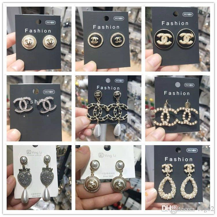 DHL Top ashion Mode cristal Lettre Boucles d'oreilles pour les femmes perle strass bling bling Luxury Design Boucles d'oreilles avec boîte pour cadeau