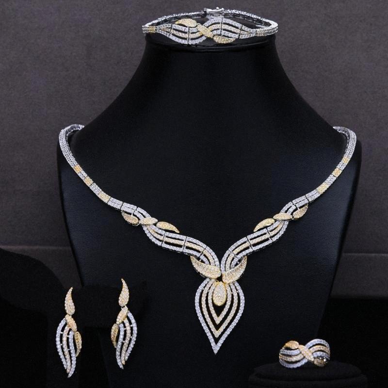 missvikki Nigerian Indien Russland Braut Hochzeit Halskette 4PCS Kleid Schmuck-Set für Frauen Täglich Partei-Erscheinen Zirkonia JfZg #