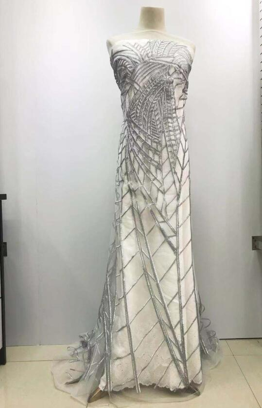 Ricamato tessuto a rete con perle in tessuto eccellenti di qualità David 10,2701 africano Tulle Pizzo per il vestito del partito