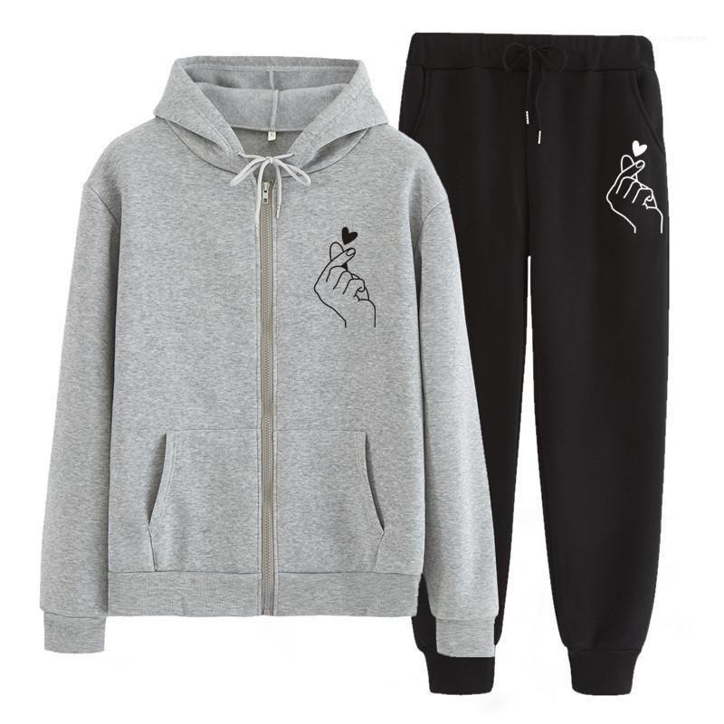 Maglione pantaloni casual due pezzi abito da uomo d'amore stampati per il tempo libero Tute Designer Coppia Zipper Hooded allentato