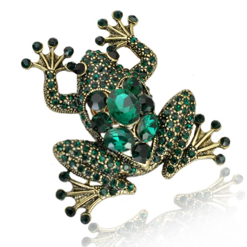 New Cute Gold Plated Enamel Rhinestone Frog Brooch Pin For Women Brooches