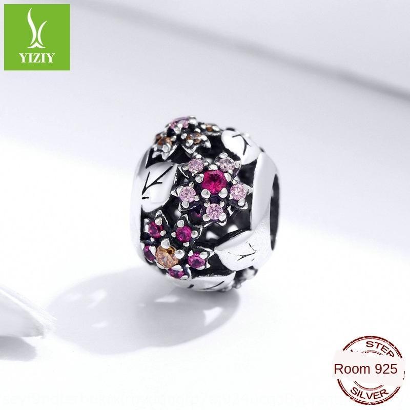 Silber Reim Blume S925 Sterling Diy Korn-Silber-Perlen Art und Weise Perlen Armband DIY Zubehör SCC1446