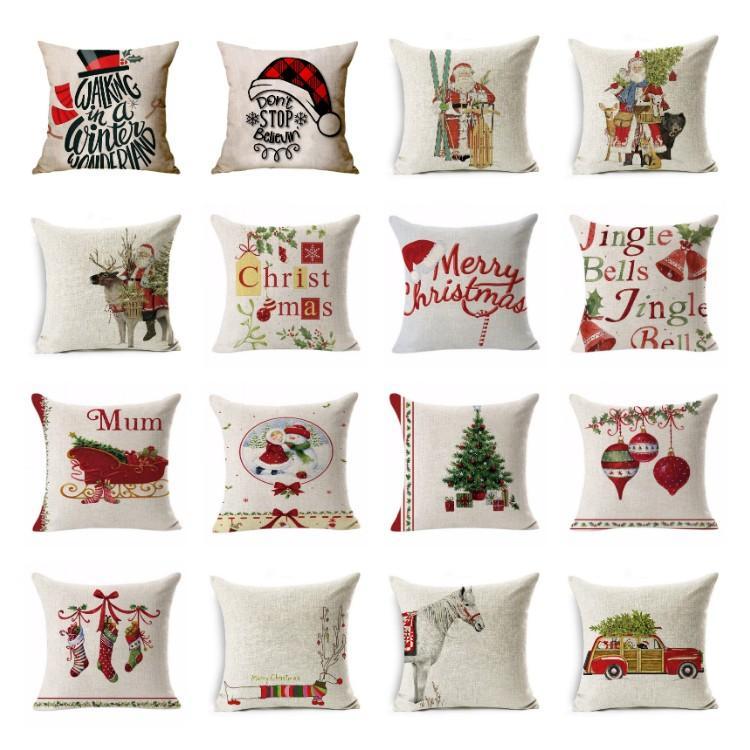 hot Christmas pillowcase car animal sofa cushion cover Santa Claus pillow case Christmas decoration plaid Pillowcase T2I51533