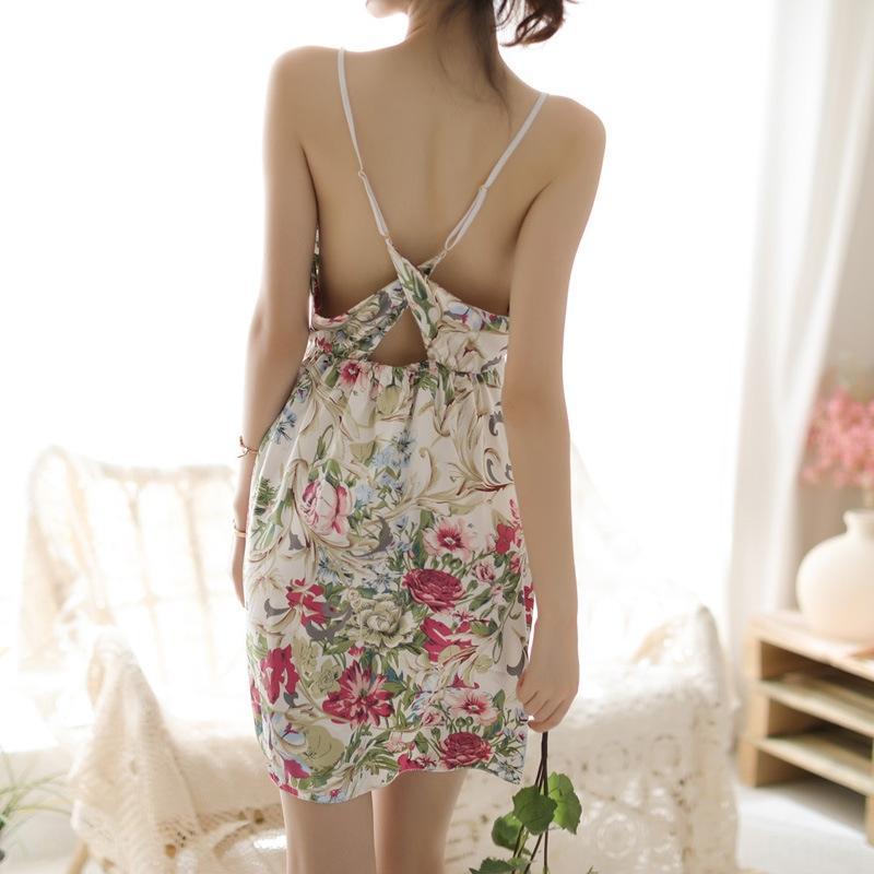 atractiva extrema tentación ropa hueco-hacia fuera de liga camisón de satén hogar de f2zZI atractivas mujeres menores de la ropa interior de la honda del desgaste casa floral de dos pi
