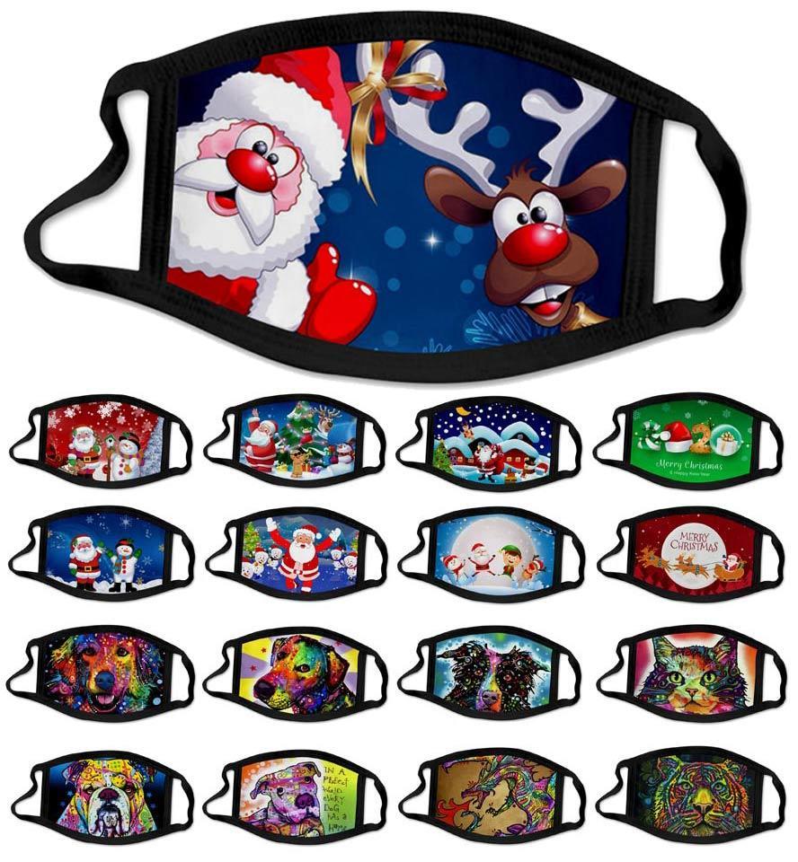 크리스마스 얼굴 마스크 2020 새로운 크리스마스 산타 클로스 눈송이 동물 안티 먼지 안개 안면 마스크 3D 디자이너 얼굴 마스크 회화 사슴