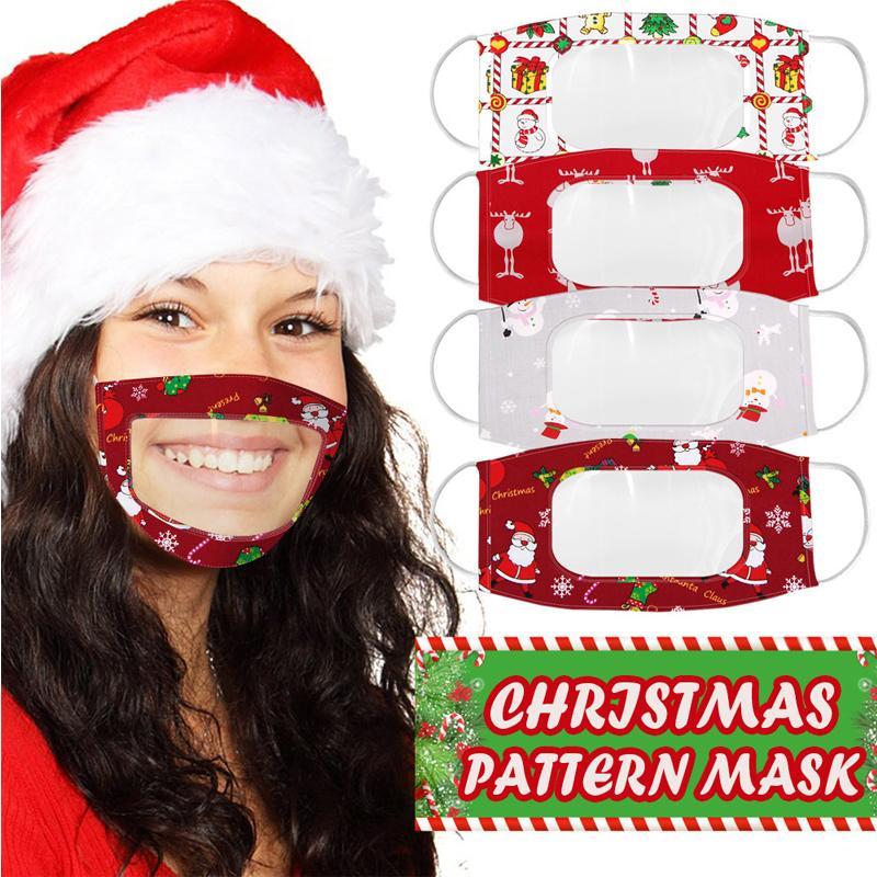 DHL Shipping Natal Lip idioma Máscaras transparentes Printing rosto claro Xmas dos desenhos animados Adultos Máscara Visible Deaf Earloop Máscaras X659FZ