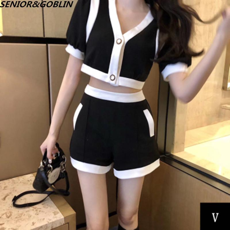 Party Two Piece Set 2020 Summer White and Black Crop Top V Neck Short Sleeve And High Waist Casual Women Outfit Sexy T200826